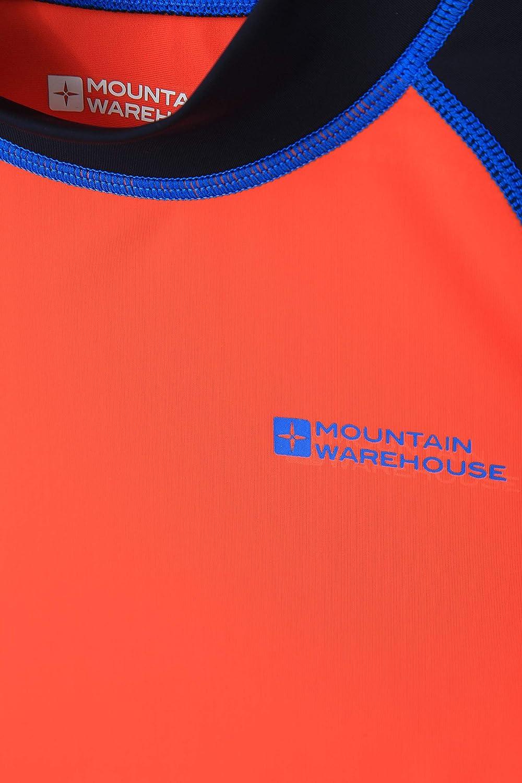 Elasticizzata Rash Guard con Protezione UV Cuciture Piatte Nuoto Maglia a Maniche Lunghe per Bambini Mountain Warehouse Rash Vest per Bambini Asciugatura Rapida