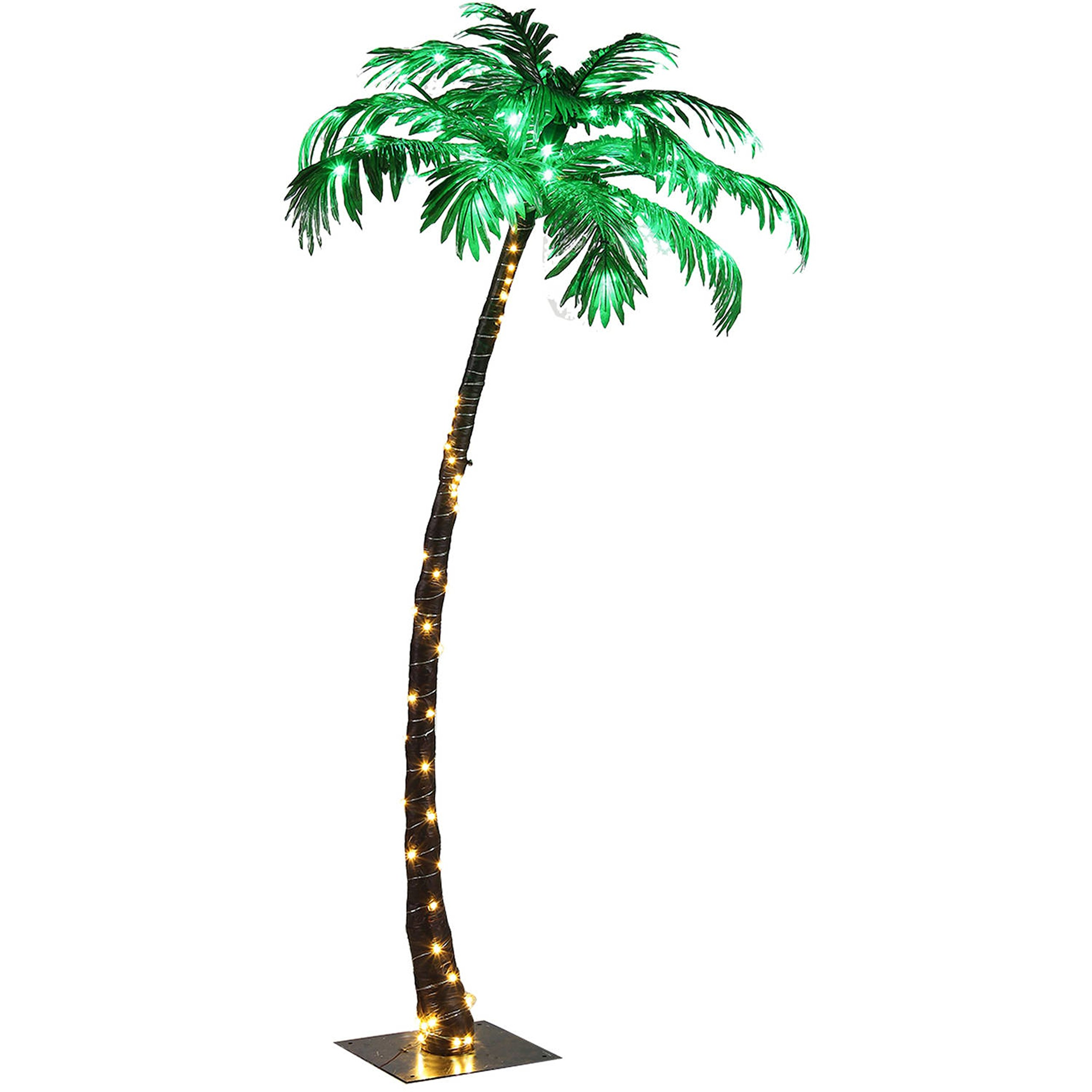 Stable Pedestal Base Design Holiday Decoration 5FT Palm Tree with 56 Warm White LED Lights