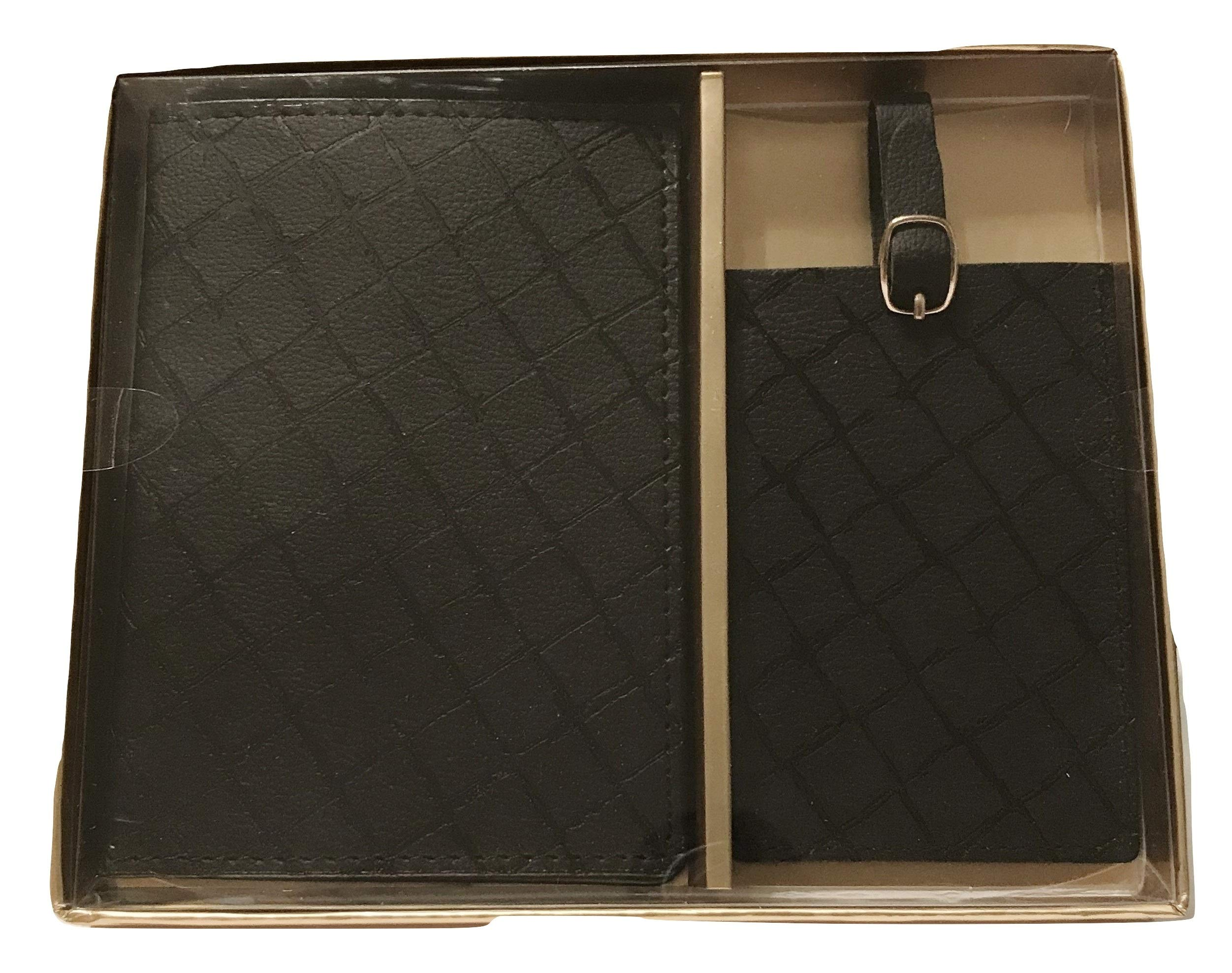 Eccolo Faux Leather Passport Cover and Luggage Tag Set (Black Patterned)