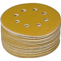POWERTEC 44006G-50 Gold Disco de lixamento de gancho e laço de 12,7 cm   8 furos   Gramatura 60 – Pacote com 50