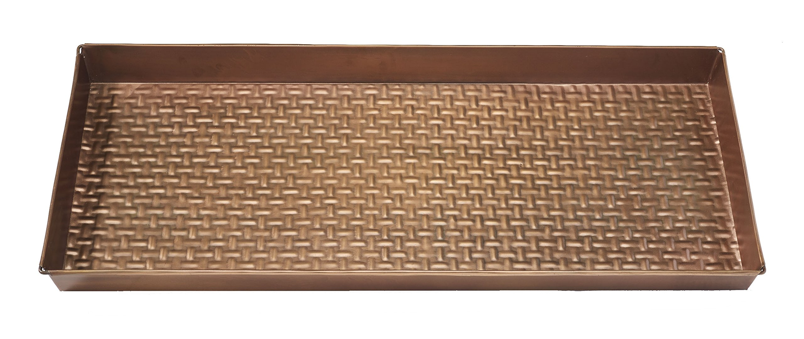 HF by LT Basketweave Pattern Metal Boot Tray, 30'' by 13'', Antique Copper Finish by HOME FURNISHINGS BY LARRY TRAVERSO (Image #2)
