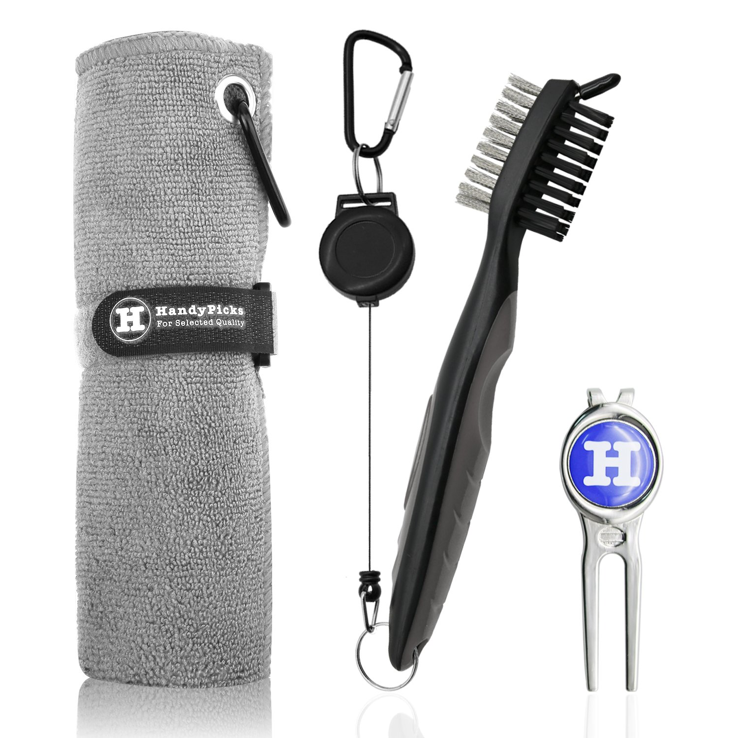 Handy Picks Microfiber Golf Towel (16'' X 16'') with Carabiner, Club Brush, Golf Divot Repair Tool with Ball Marker - Golf Accessories, Ideal for Golfers - 3 in 1 Golf Cleaning Kit (Pack of 3, Grey)