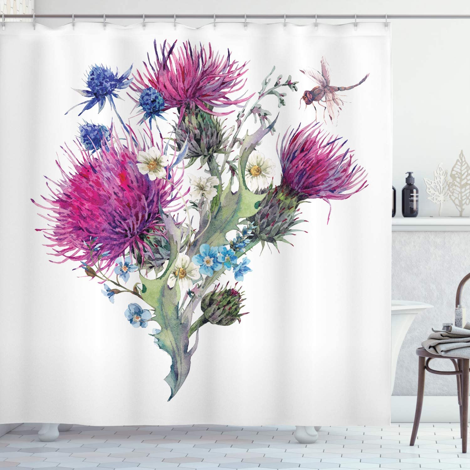 Ambesonne Dragonfly Shower Curtain, Summer Natural Meadow Herbs Bouquet Wild Thistles Chamomiles Watercolor Boho Art, Cloth Fabric Bathroom Decor Set with Hooks, 84