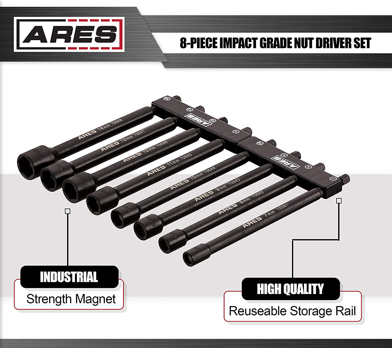 ARES 70640 8-Piece Metric Magnetic Impact Nut Driver Bit Set Impact Grade Nut Setters with Industrial Strength Magnets