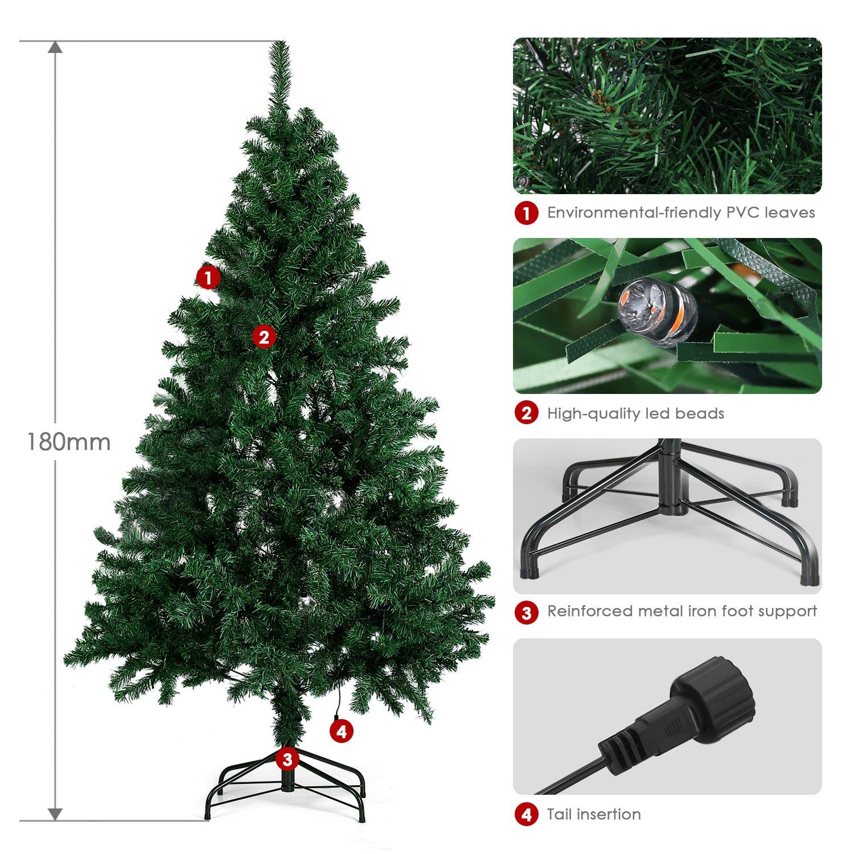 Amzdeal Christmas Tree 6ft, Artificial Christmas Tree, Pre Lit Xmas ...