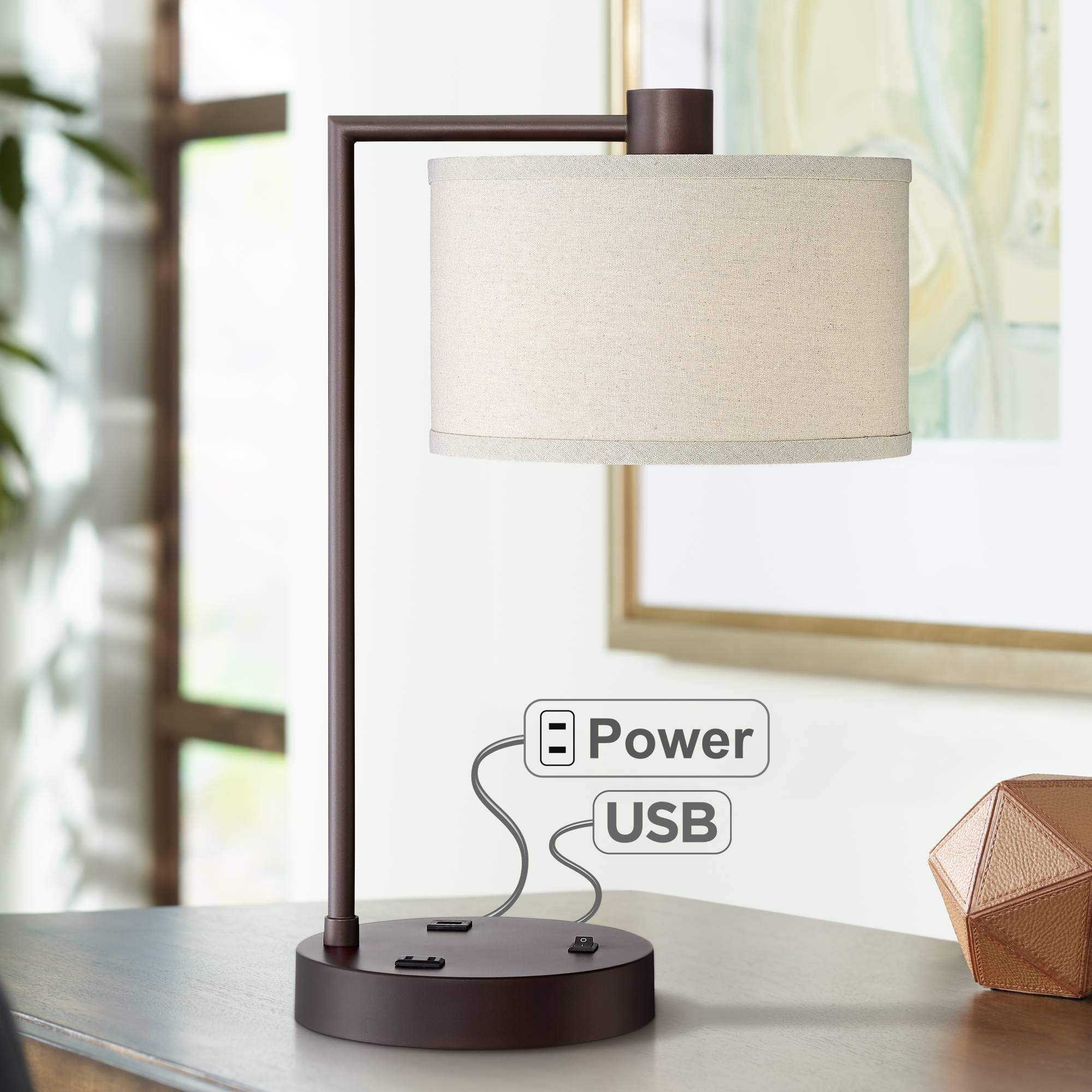Colby Modern Desk Table Lamp with USB and AC Power Outlet in Base Bronze Metal Linen Uno Fitter Drum Shade for Living Room Bedroom Bedside Nightstand Office - 360 Lighting by 360 Lighting