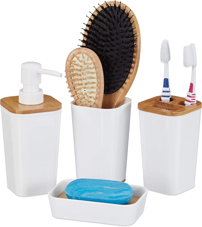 Relaxdays Set de 4 Accesorios de baño, Portacepillos, Jabonera, Vaso, Dispensador de jabón, Plástico & Bambú, Blanco, plástico, bambú, 17,5 x 7 x 7 cm