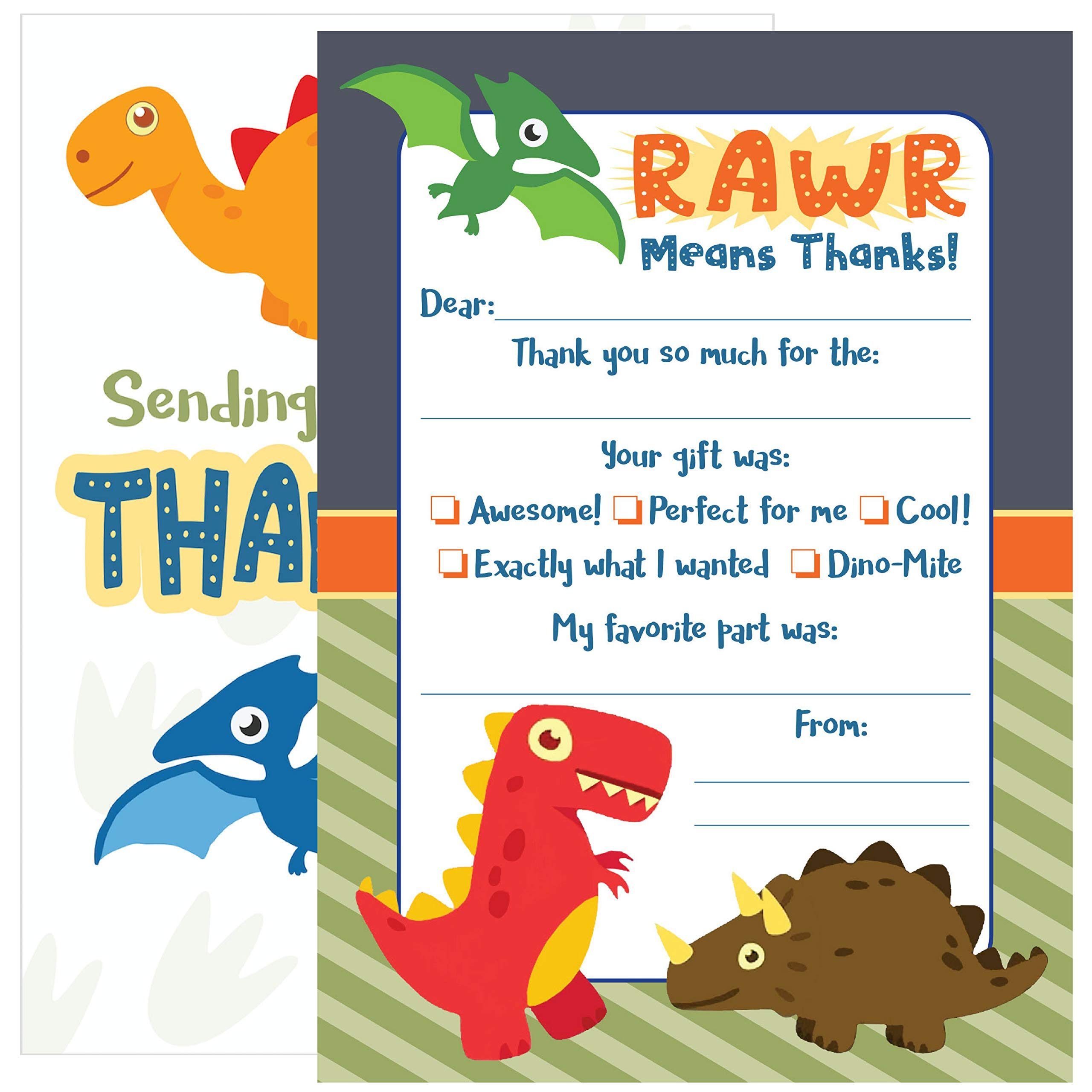 25 Kids Dinosaur Thank You Cards - These Cute Fill In Thank You Notes with Envelopes (5x7 Inch) are an Easy Way for Your Children to Personalize Their Thanks