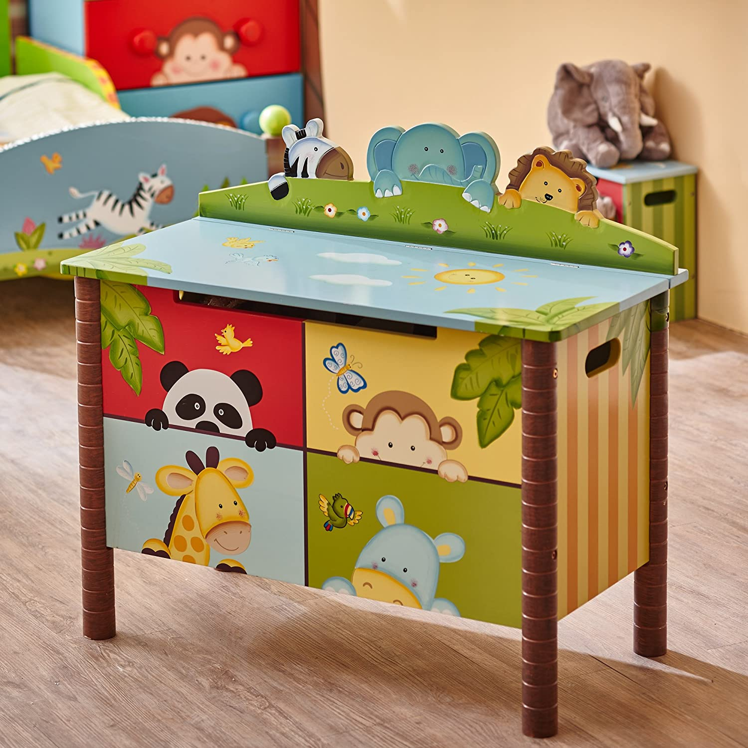 Kids wooden toy chest sunny safari - Amazon Com Fantasy Fields Sunny Safari Animals Thematic Kids Wooden Toy Chest With Safety Hinges Imagination Inspiring Hand Crafted Hand Painted