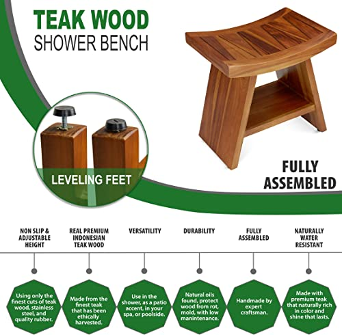TeakCraft Teak Shower Stool Bench with Shelf for Bath Spa – 18 Fully Assembled, The Randi