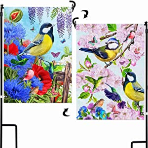 AOKDEER Home Decorative Bird Garden Flag 12.5x18 Prime, 2-in-1 Double Sided Burlap Welcome House Flags, Garden Flags for Outside Yard Signs Gift for Patio Lawn Outdoor Decor, Different Front and Back