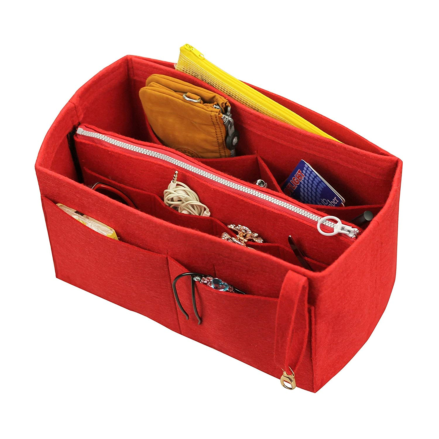[Fits Neverfull PM/Speedy 25, Red] Felt Organizer (w/Detachable Zipper Bag), Tote Felt Purse Insert, Cosmetic Makeup Diaper Handbag, Zipped Belongings Pocket