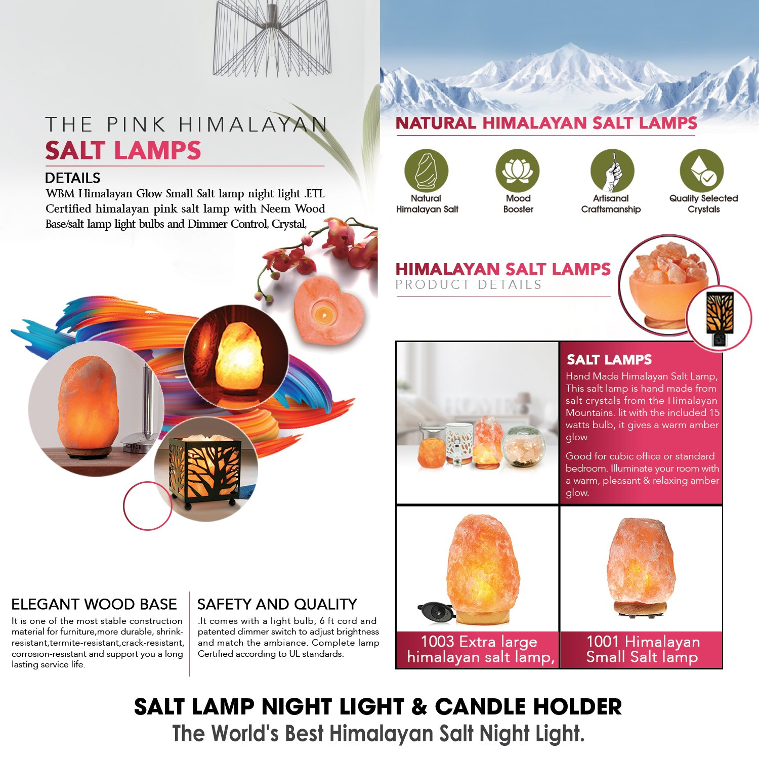 Himalayan Glow Salt Lamp, 1003 Extra large himalayan salt lamp, Dimmable Floor lamp with Neem Wooden base   11 to 15 lbs by WBM by Himalayan Glow (Image #8)