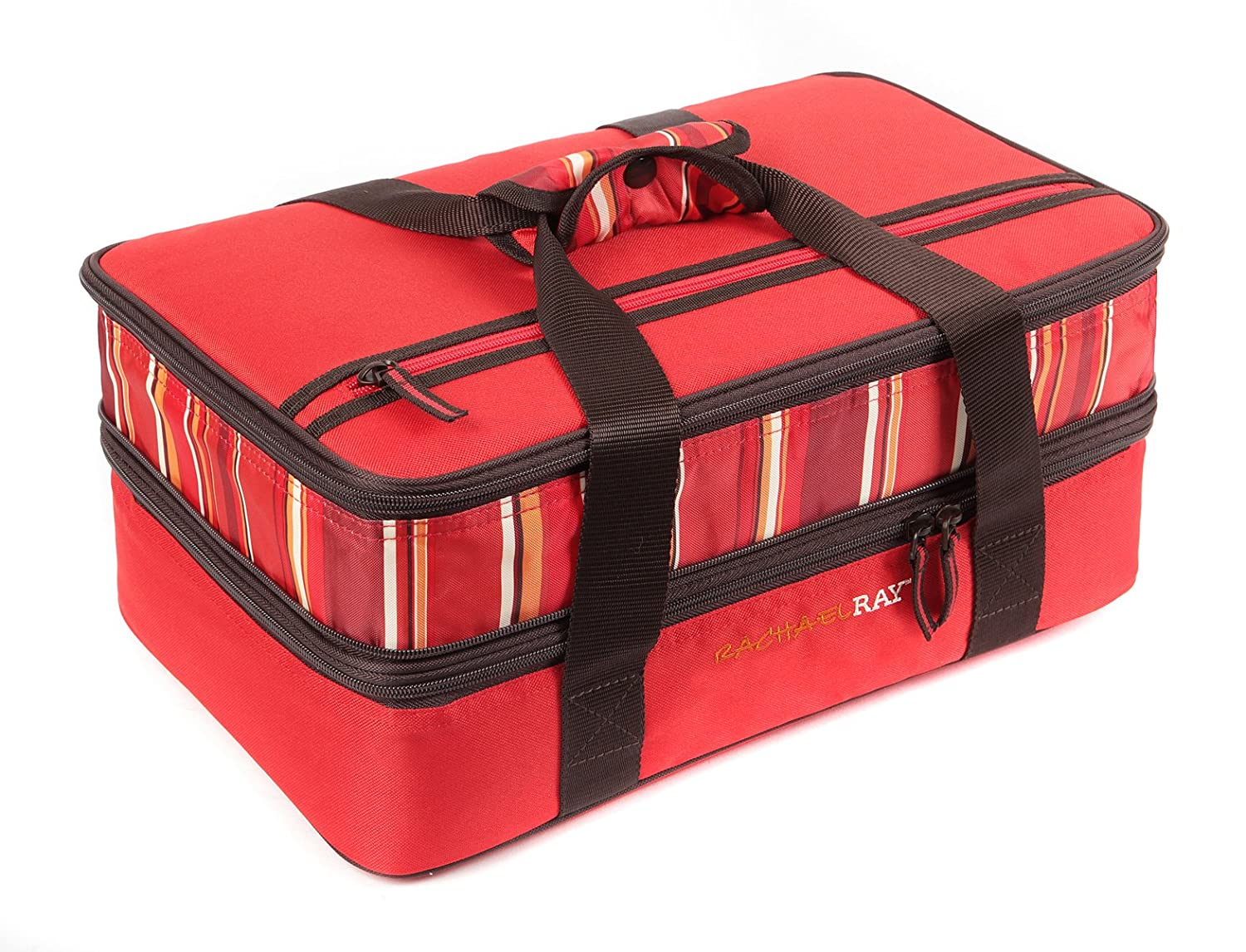 "Rachael Ray Expandable Lasagna Lugger, Double Casserole Carrier for Potluck Parties, Picnics, Tailgates - Fits two 9""x13"" Casserole Dishes, Red"