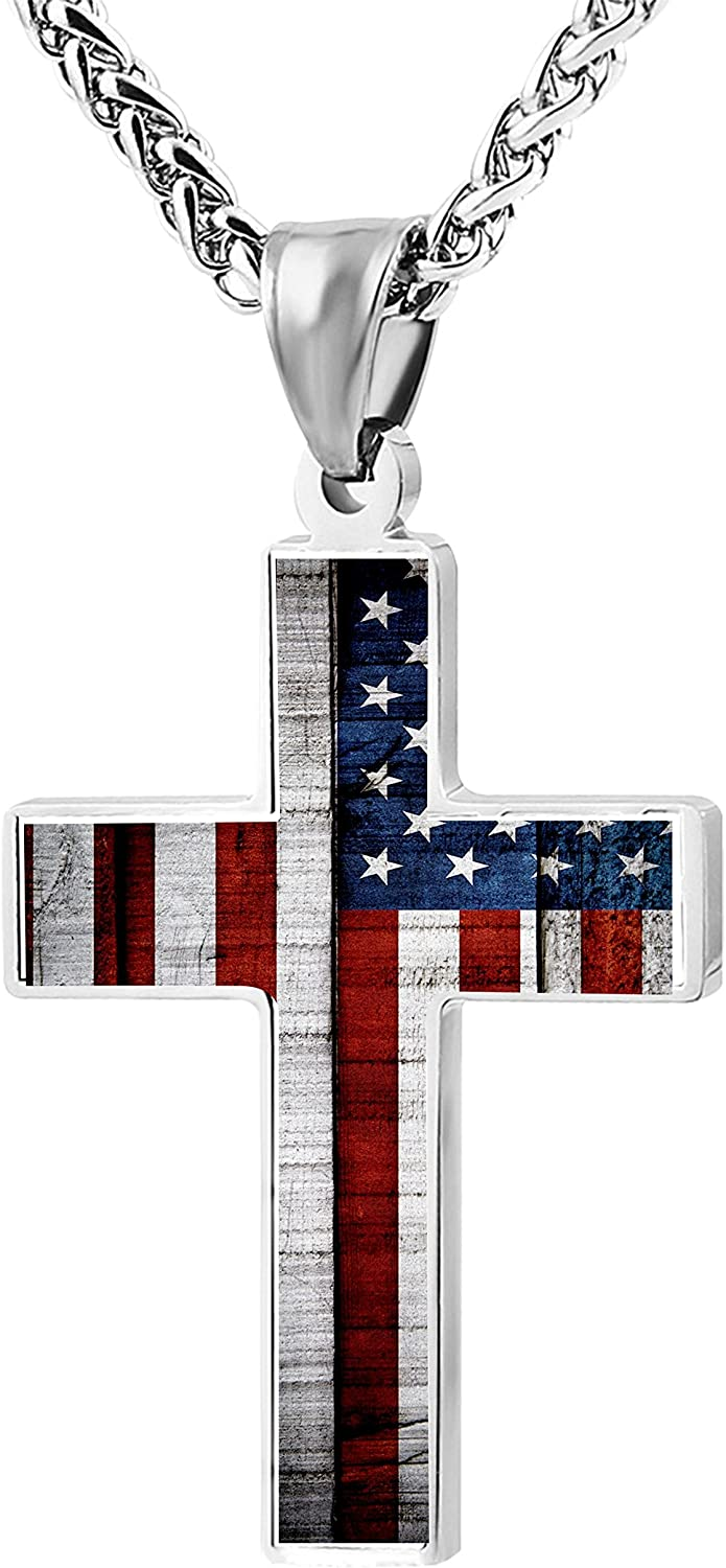 CTWUVS ADPR American Flag Patriotic Cross Pendant Necklace Religious Jewelry for Men
