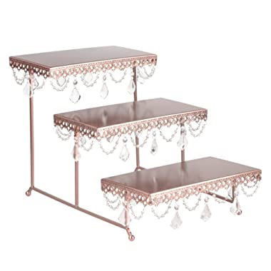Amalfi Decor 3 Tier Dessert Cupcake Stand, Pastry Candy Cake Cookie Serving Platter for Wedding Event Birthday Party, Rectangular Metal Plate Tower Tray Holder with Crystals, Rose Gold