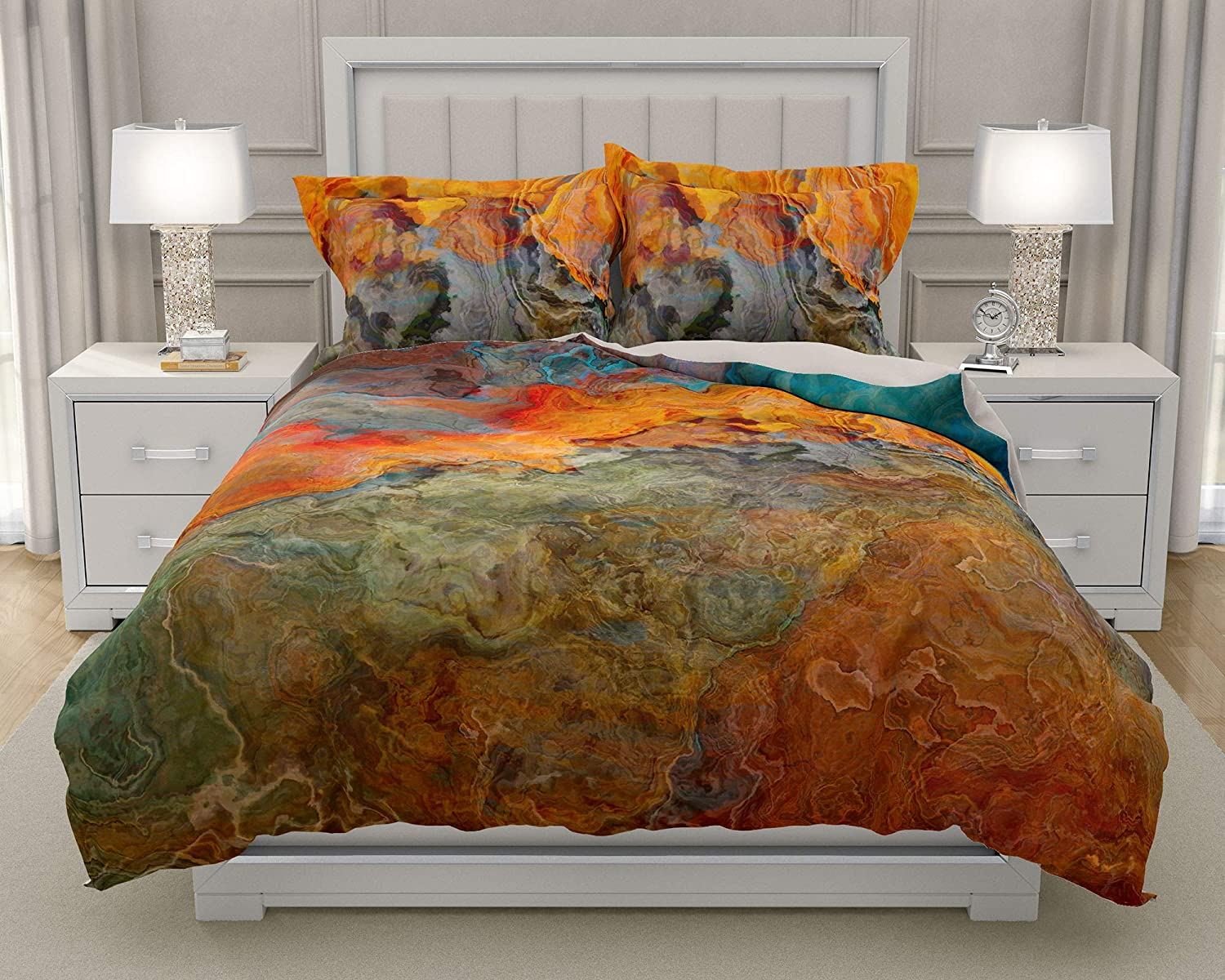 Image of King or Queen 3 pc Duvet Cover Set with abstract art, Copper River