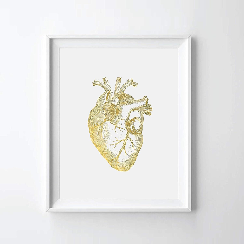 Human Heart II Gold Foil Art Print Heart Anatomy Gold Foil Print (08
