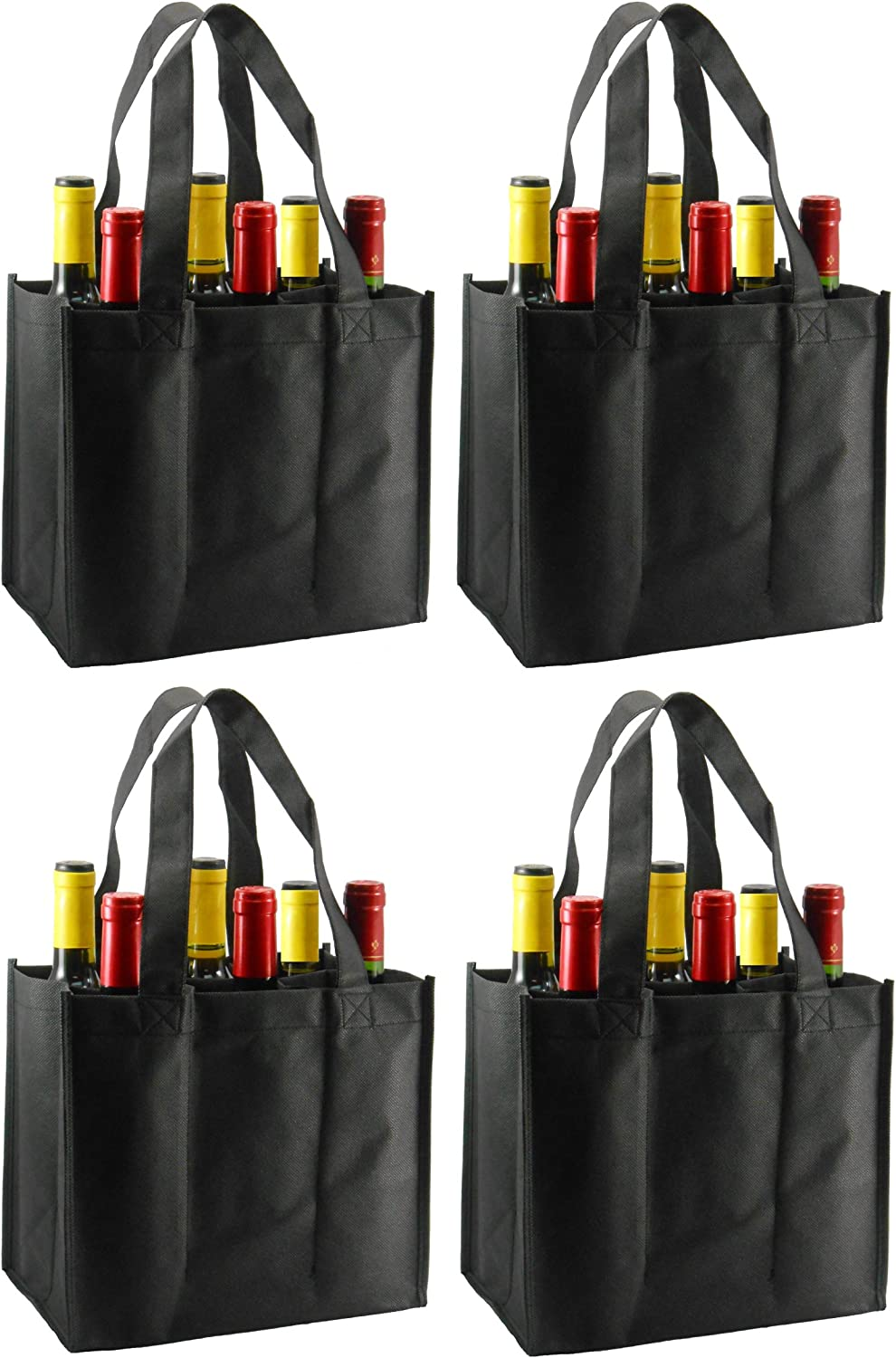 Reusable Non-Printed Wine Tote- 4 Pack (Black, 6 Bottle)