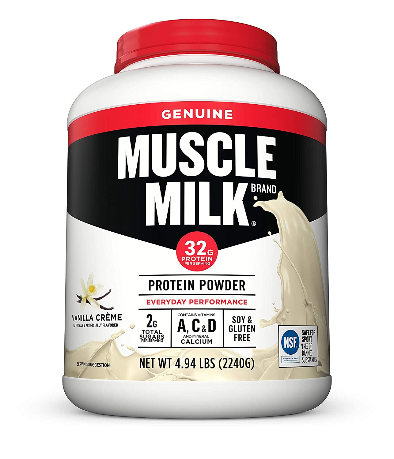 Muscle Milk Genuine Protein Powder, Vanilla Cr me, 32g Protein, 4.94 Pound