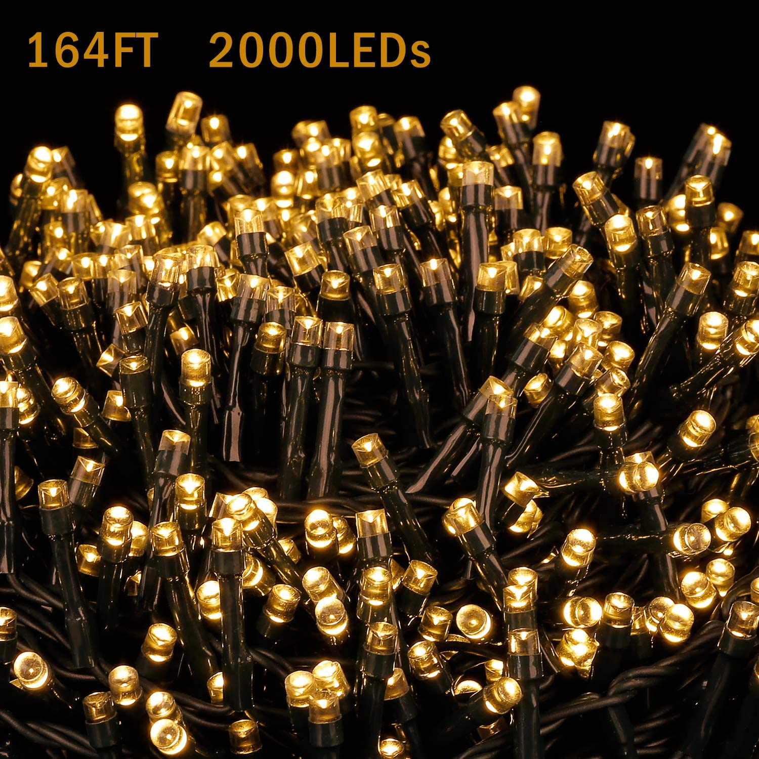 LED Outdoor String Lights - Novtech 164FT 2000LEDs Fairy String Lights Plug in Christmas Lights - Waterproof Decorative String Lights for Christmas Home Garden Patio Wedding Party Holiday - Warm White