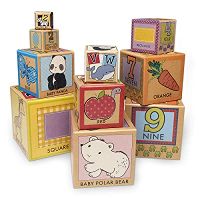 Melissa & Doug Natural Play Early Learning 10 Stacking & Nesting Cardboard Blocks: Toys & Games