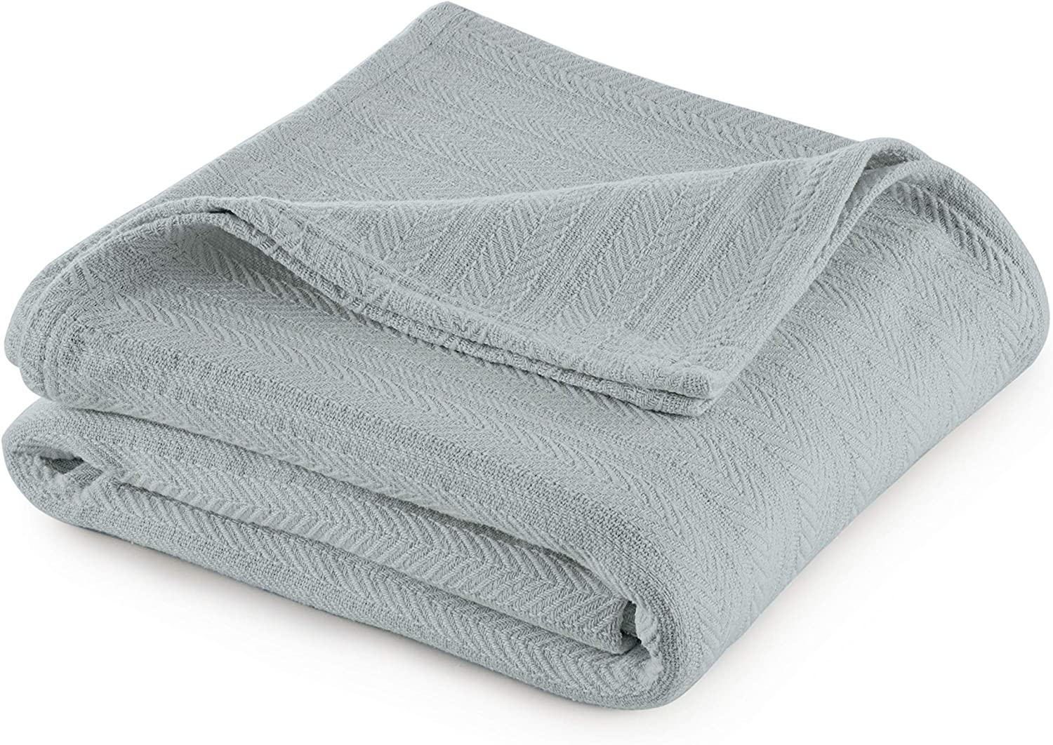 COTTON WOVEN BLANKET BY VELLUX -Natural, Cozy, Warm, Chevron Textured, Pet-Friendly, All-Seasons- Sea Mist