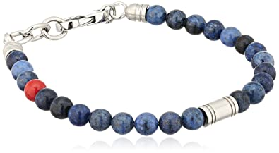 7daa0fee7be Amazon.com: Fossil Vintage Casual Blue Beaded Bangle Bracelet: Jewelry
