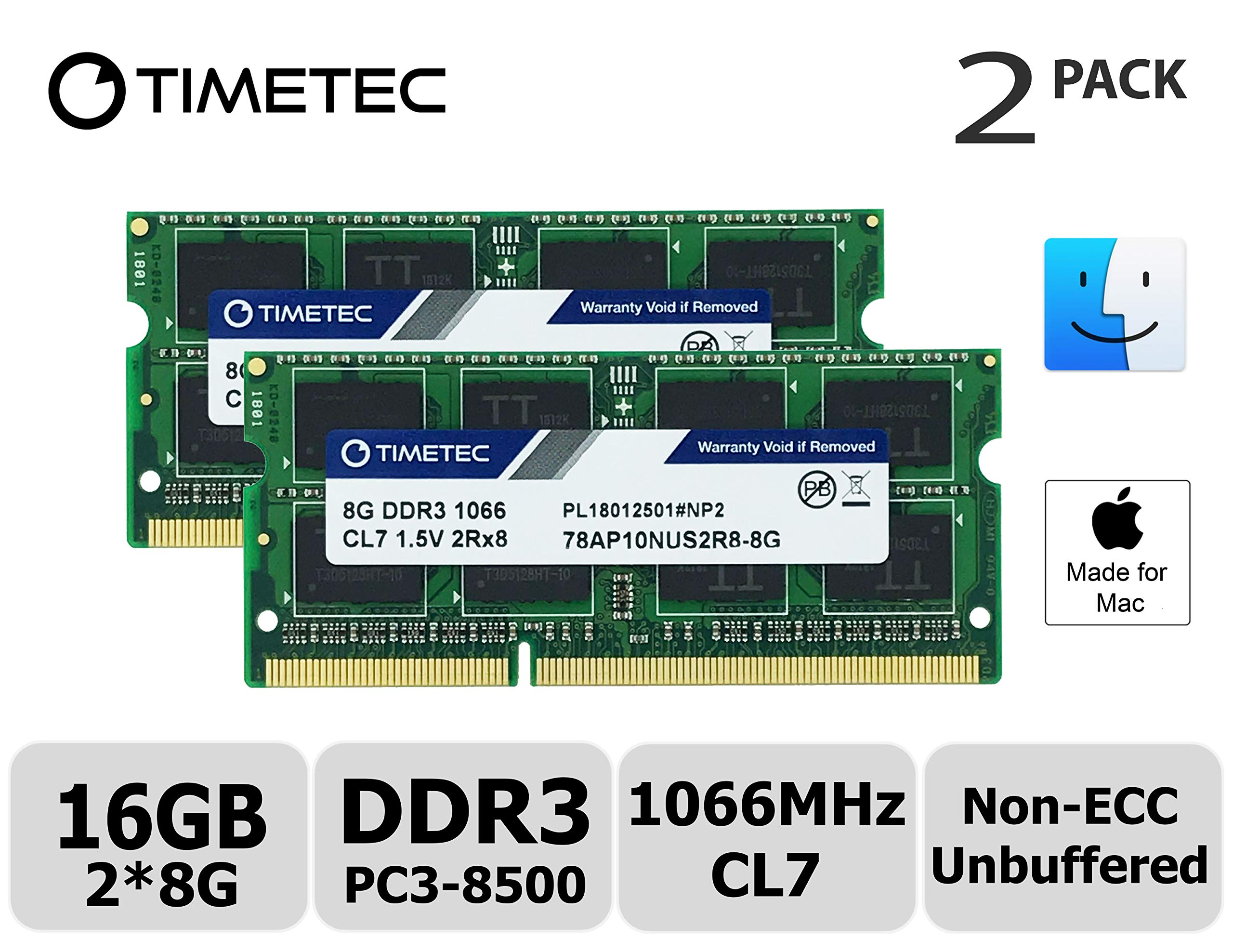Timetec Hynix IC 16GB KIT(2x8GB) Compatible for Apple DDR3 PC3-8500 1067MHz/1066MHz Upgrade for MacBook 13'' Mid 2010, MacBook Pro 13'' Mid 2010, iMac 27''Late 2009, Mac Mini Mid 2010(16GB KIT(2x8GB))
