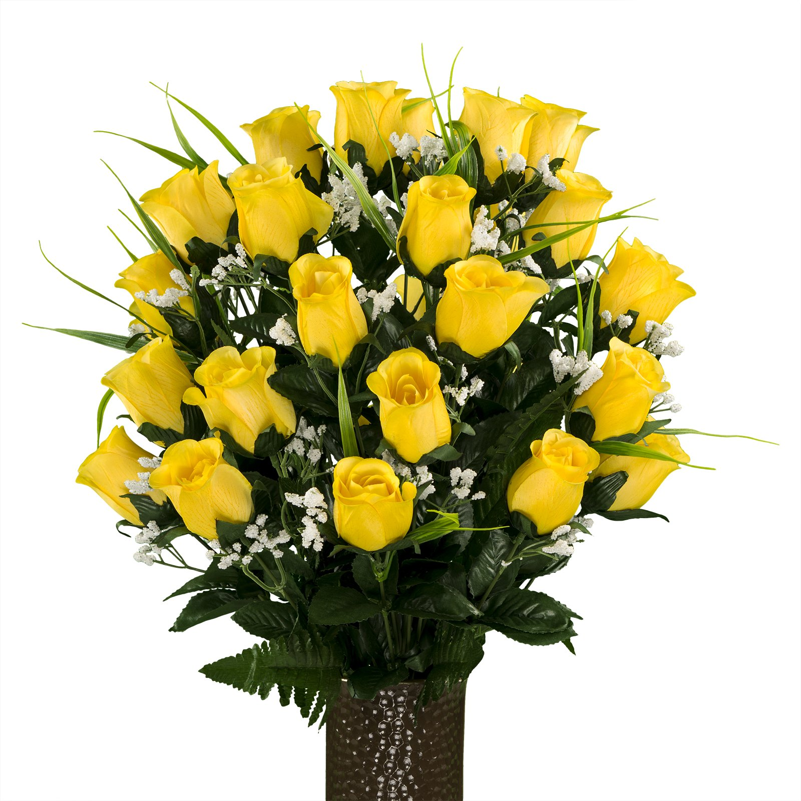 Yellow-Roses-with-Lily-Grass-featuring-the-Stay-In-The-Vase-DesignC-Flower-Holder-MD1994