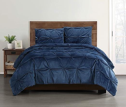 Amazon Com Truly Soft Pleated Velvet Full Queen 3 Piece Comforter