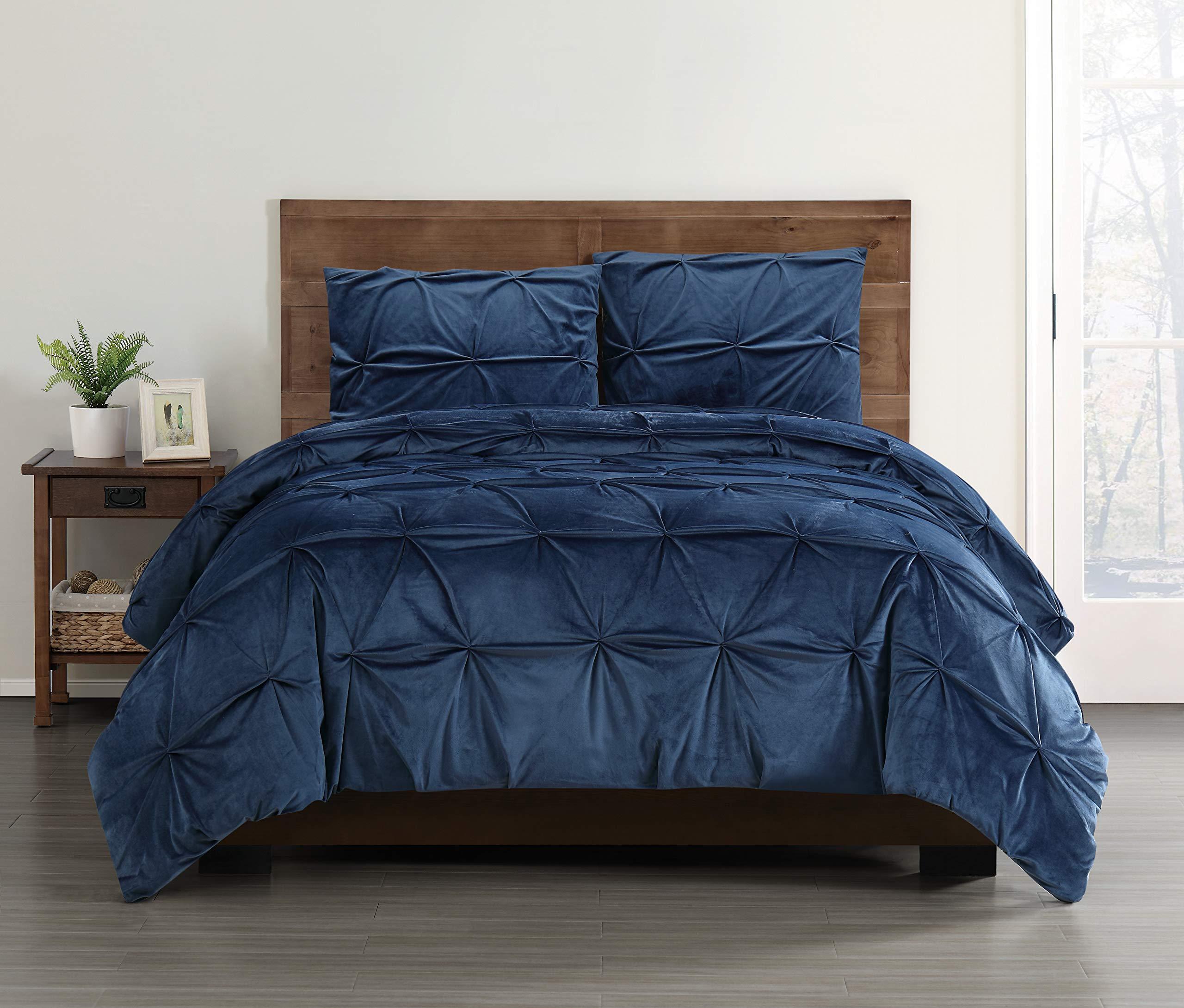 Truly Soft Pleated Velvet King 3 Piece Duvet Cover Set in Navy Blue