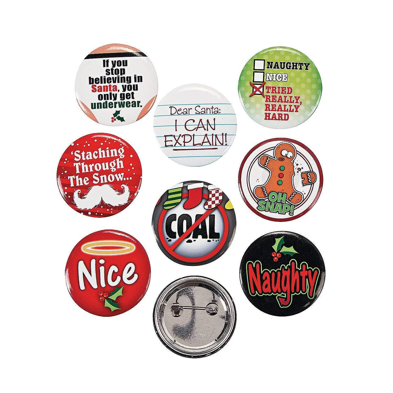 24 (2 Dozen) ~ Funny Christmas Sayings Button Pins ~ Approx. 1.25' / Metal ~ New Fun Express