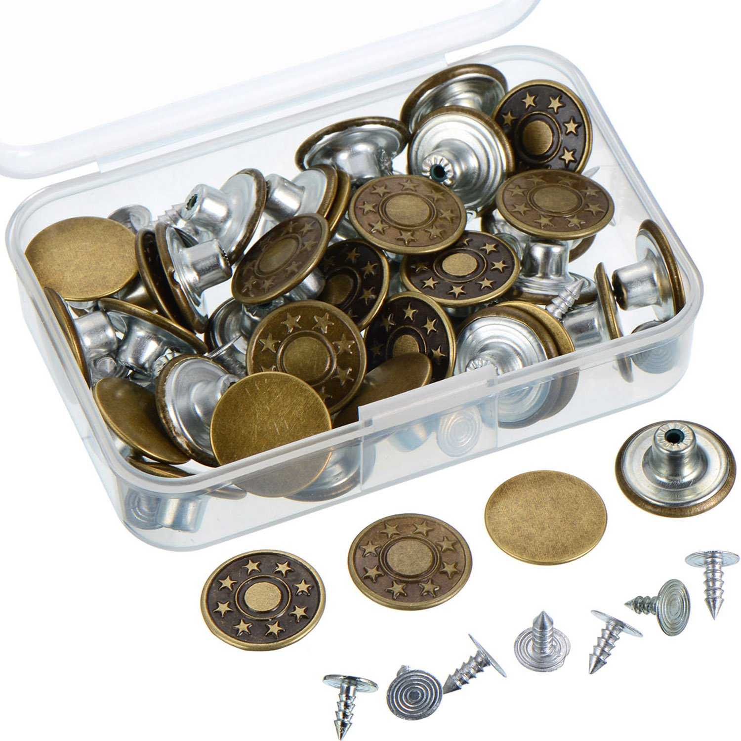 Outus 40 Sets Jeans Button Tack Buttons Metal Replacement Kit with Storage Box, 2 Styles, Bronze 4337005975