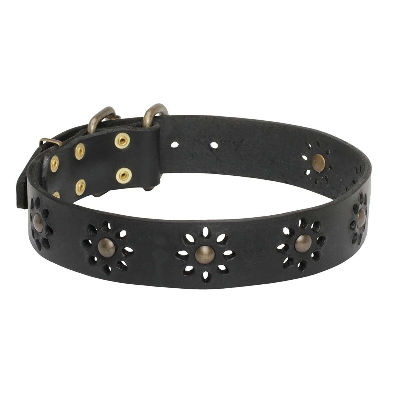 Black fits for 33 inch dog's neck size Black fits for 33 inch dog's neck size 33 inch Black Leather Dog Collar 'Spring mood' for Joyful Walking 1 1 2 inch (40 mm) wide
