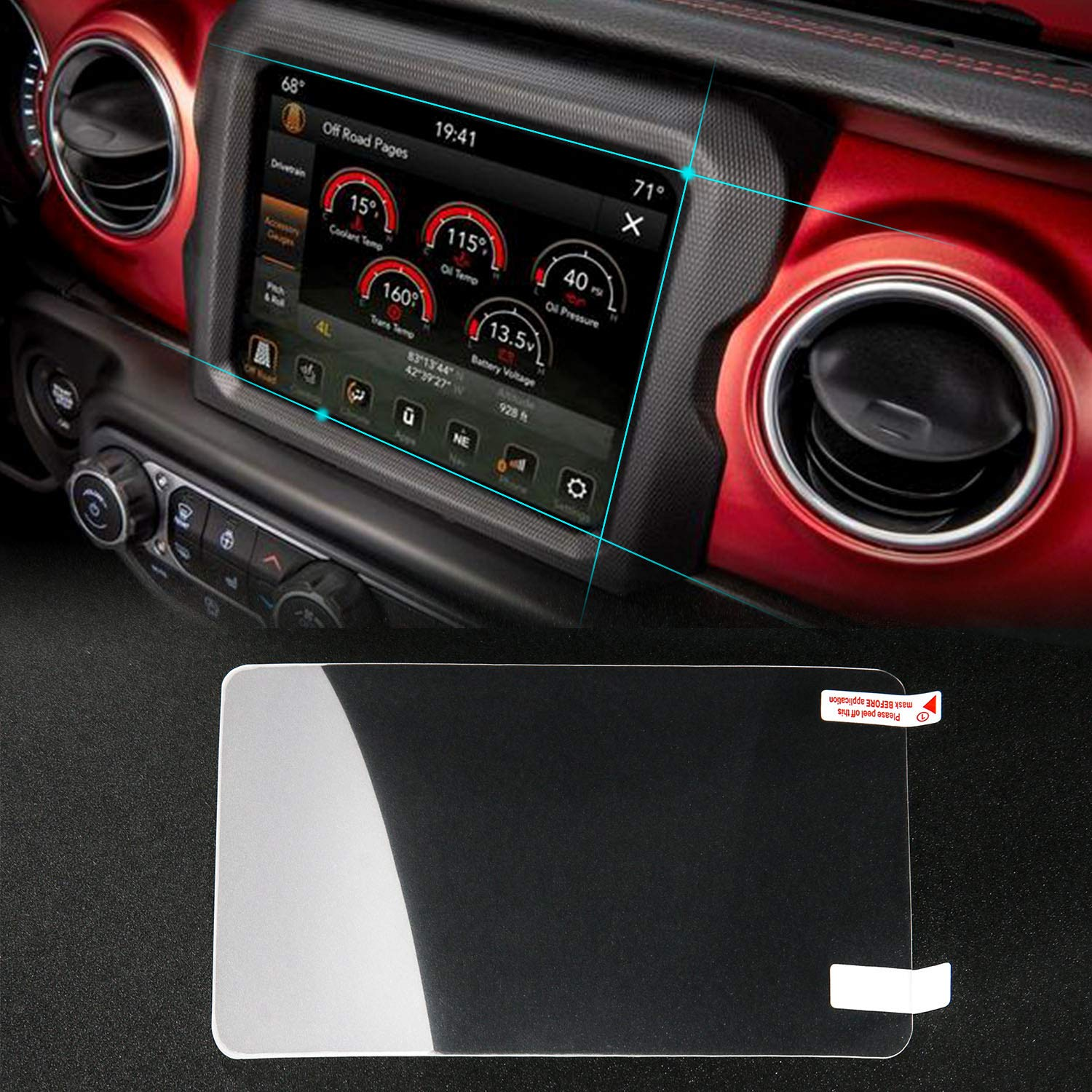 Media Center Protective Film for 2018 Jeep Wrangler JL U-Connect 8.4'' Navigation Touch Screen, JeCar Nanometer Screen Protector Ultra Thin & Fingerprint Proof by JeCar