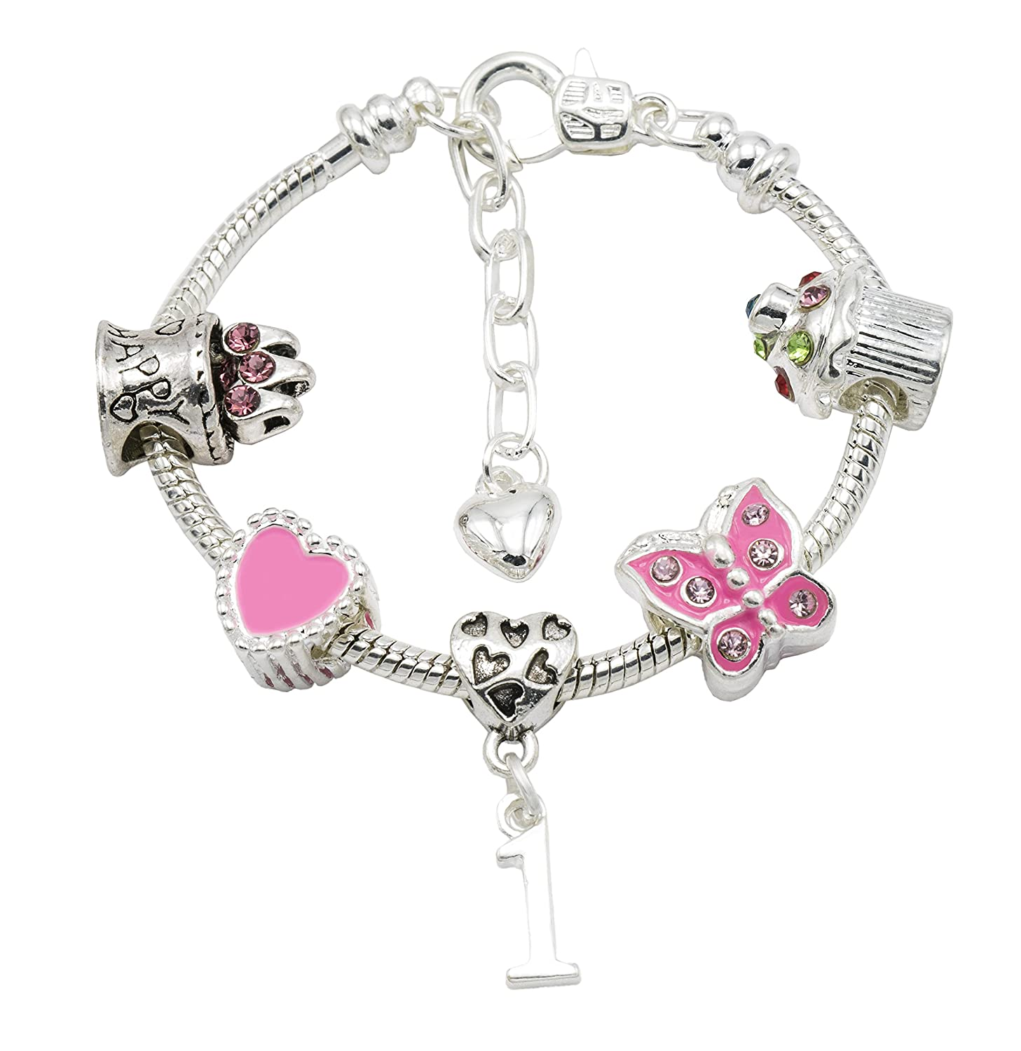 Jewellery Hut Girl's Silver Plated Birthday Charm Bracelet with Gift Pouch - Ages 1-11 Available BRSILVERBIRTHDAYAGE1-11