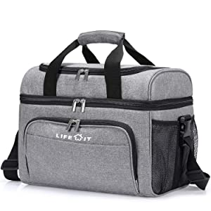 Lifewit Collapsible Cooler Bag 32-Can Insulated Leakproof Soft Cooler Portable Double Decker Cooler Tote for Beach/Picnic/Sports, Grey