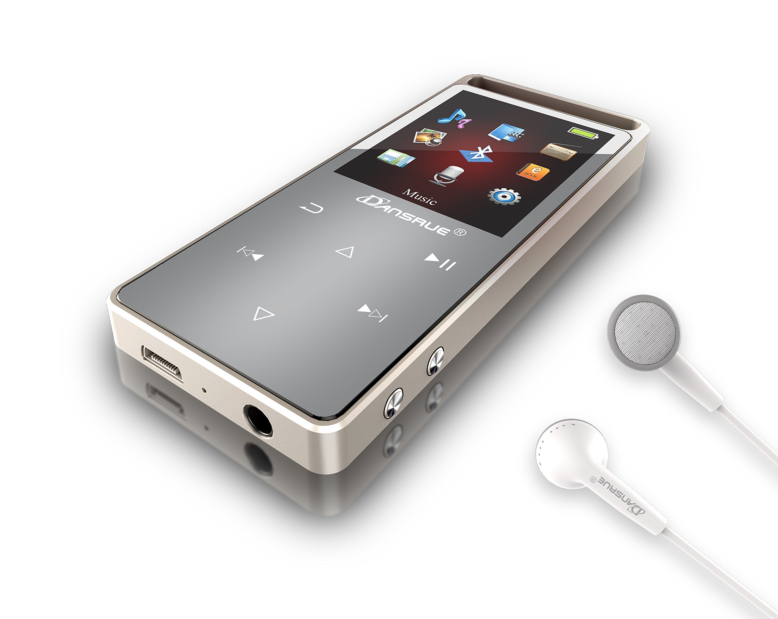 Dansrue Bluetooth MP3 Music Player with FM Radio/ Voice Recorder, Lossless Sound, Metal Touch button , 1.8 Inch Color Screen, 60 Hours Playback by Dansrueus (Image #1)