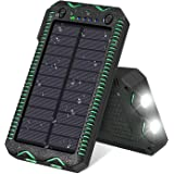 FEELLE Solar Charger 15500mAh Waterproof Solar Power Bank Portable Phone Charger with Dual LED Lights for iPhone, iPad, Smartphones and More Outdoor activities