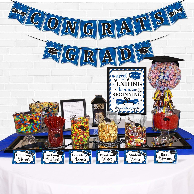 Yaaaaasss! 18 pcs Graduation Candy Bar Dessert Buffet Decoration-A Sweet Ending to A New Beginning Sign Blue Congrats Grad Banner Food Labels Dessert Table Party Favor Ideas Supplies Navy Blue