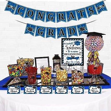 Amazon Com Yaaaaasss 18pcs Graduation Candy Bar Dessert Buffet Decoration A Sweet Ending To New Beginning Sign Blue Congrats Grad Banner Food Labels Table Party Favor Ideas Supplies Navy Toys