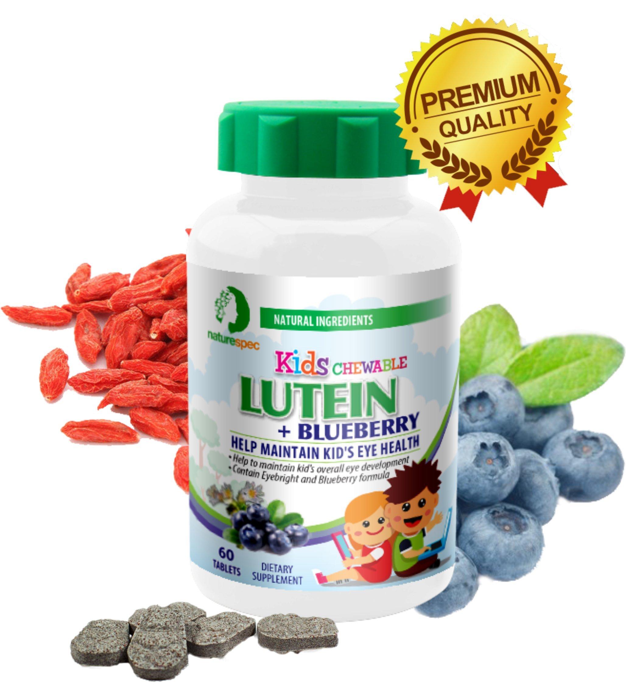 Nature Spec Kids Chewable Lutein Premium Blueberry Flavor Taurine Vitamin Zinc Eyebright Extract Lycium Extract Kid's Eye Health,Vitamin Chewbale Eye Health Kid Lutein by Nature Spec