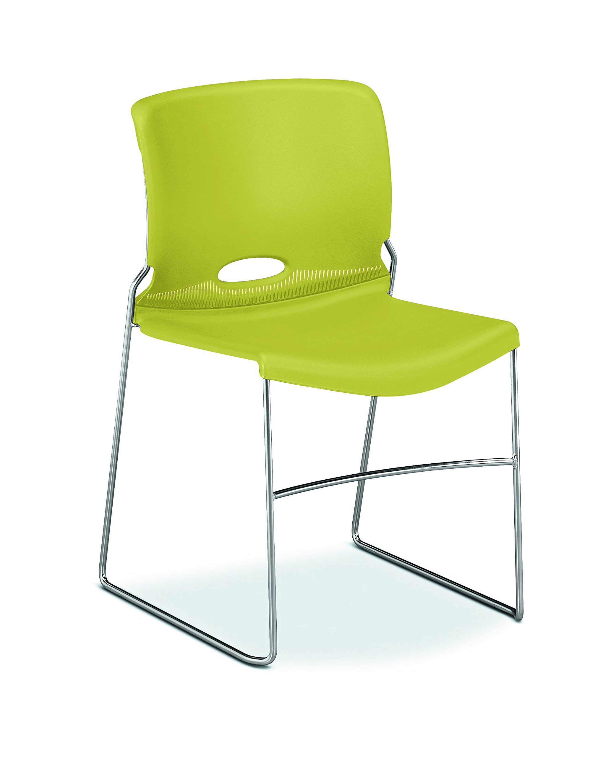HON The Company HON4041LM Olson High-Density Stacking Chair, Set of 4, in Lime (H4041),