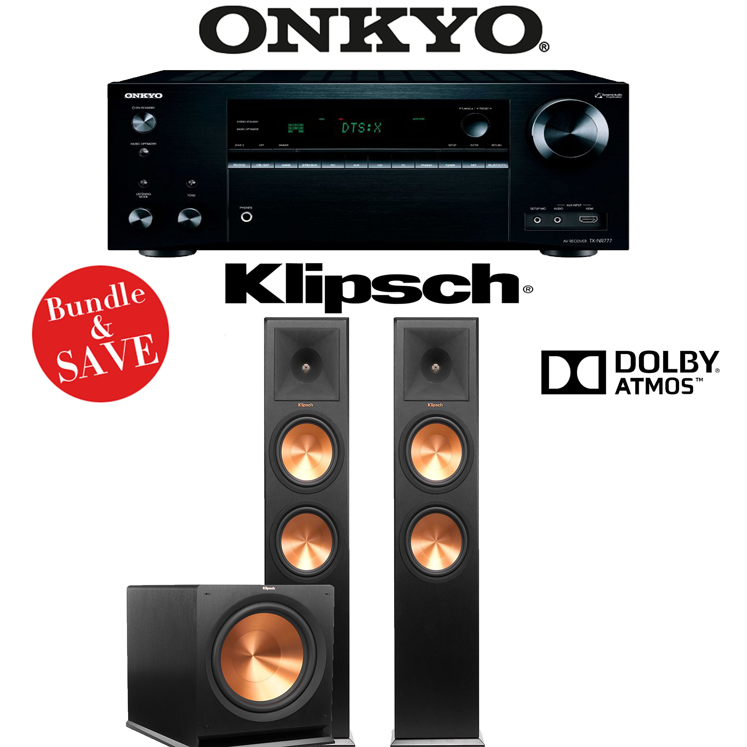 Onkyo TX-NR777 7.2-Channel 4K THX Certified Network A/V Receiver + Klipsch RP-280FA + Klipsch R-115SW - 2.1-Ch Home Theater Package