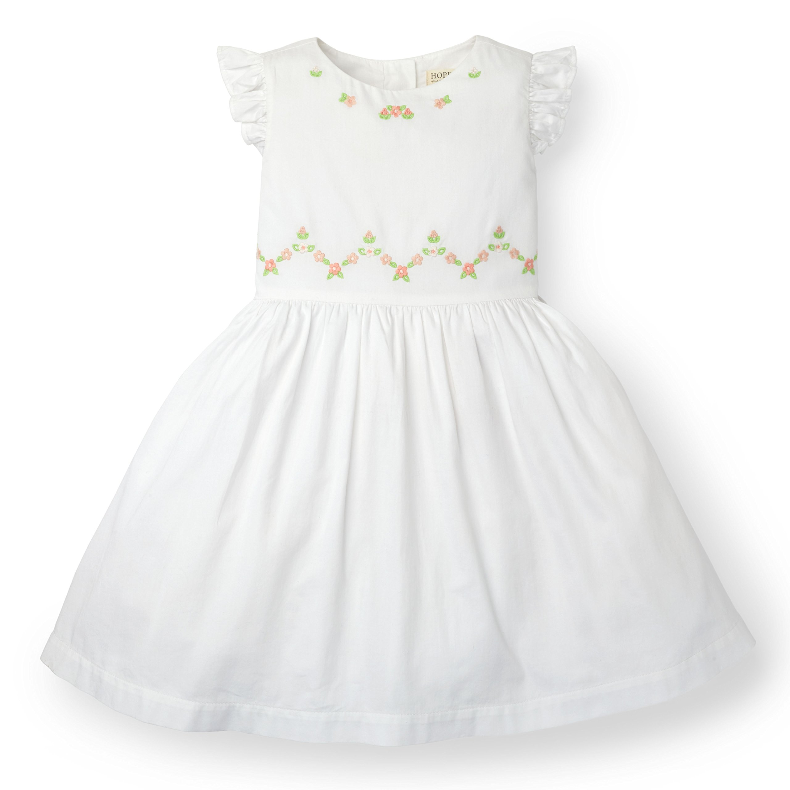 Hope & Henry Girls Embroidered Dress Made with Organic Cotton, White, 10