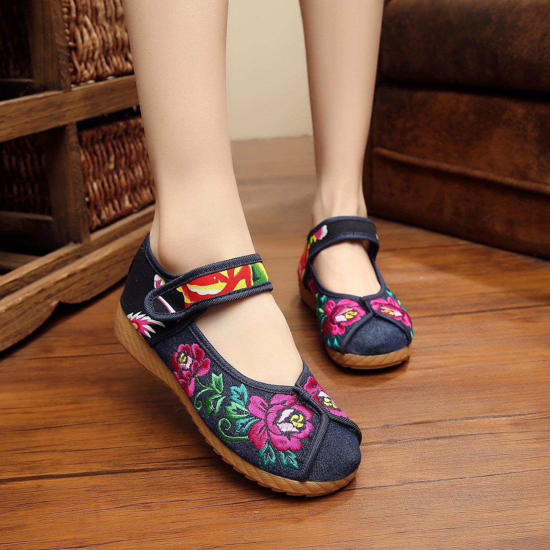 Eeayyygch Bestickte Schuhe Sehnensohle Ethno-Stil weibliche Stoffschuhe Mode bequem lässig lässig lässig im Anstieg Denimblau 36 (Farbe   - Größe   -) 8ecca6