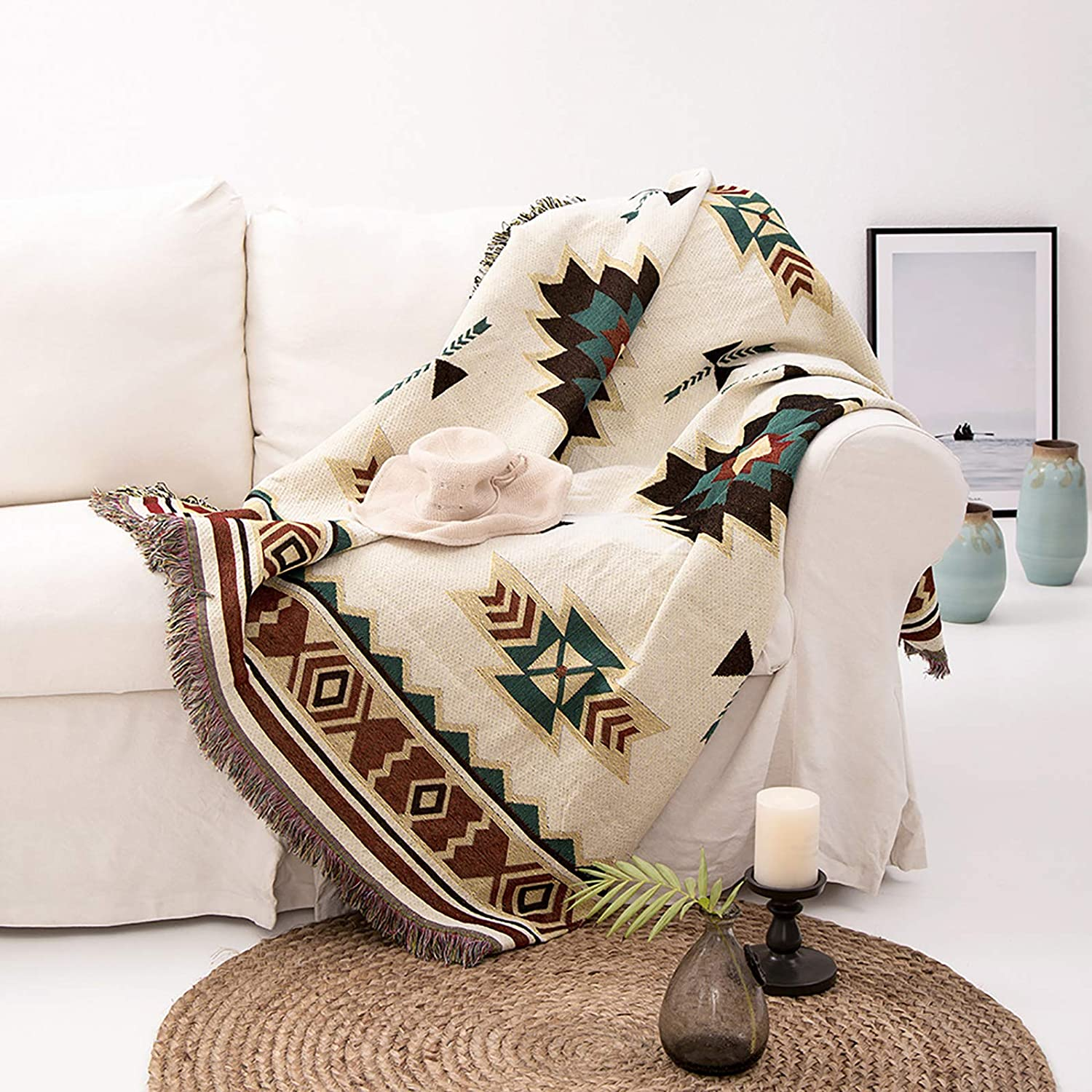 Soft Couch Throw Blankets Southwestern Cotton Woven Knitted Throws for Loveseat Furniture Warm Bed Cover Reversible Towel Multi-Function for Home Office Travel(70x90 inch)-L