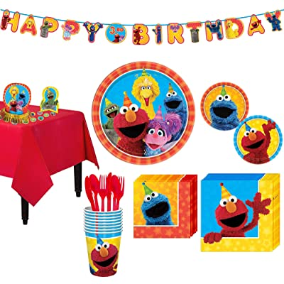 Party City Sesame Street Party Kit; Includes Tableware, Table Covers and Decorations; 8 Guests: Kitchen & Dining