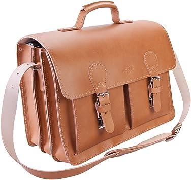 Fabriqu/é en Allemagne DELARA serviette en cuir de selle spacieux bandouli/ère /épaulette inclus